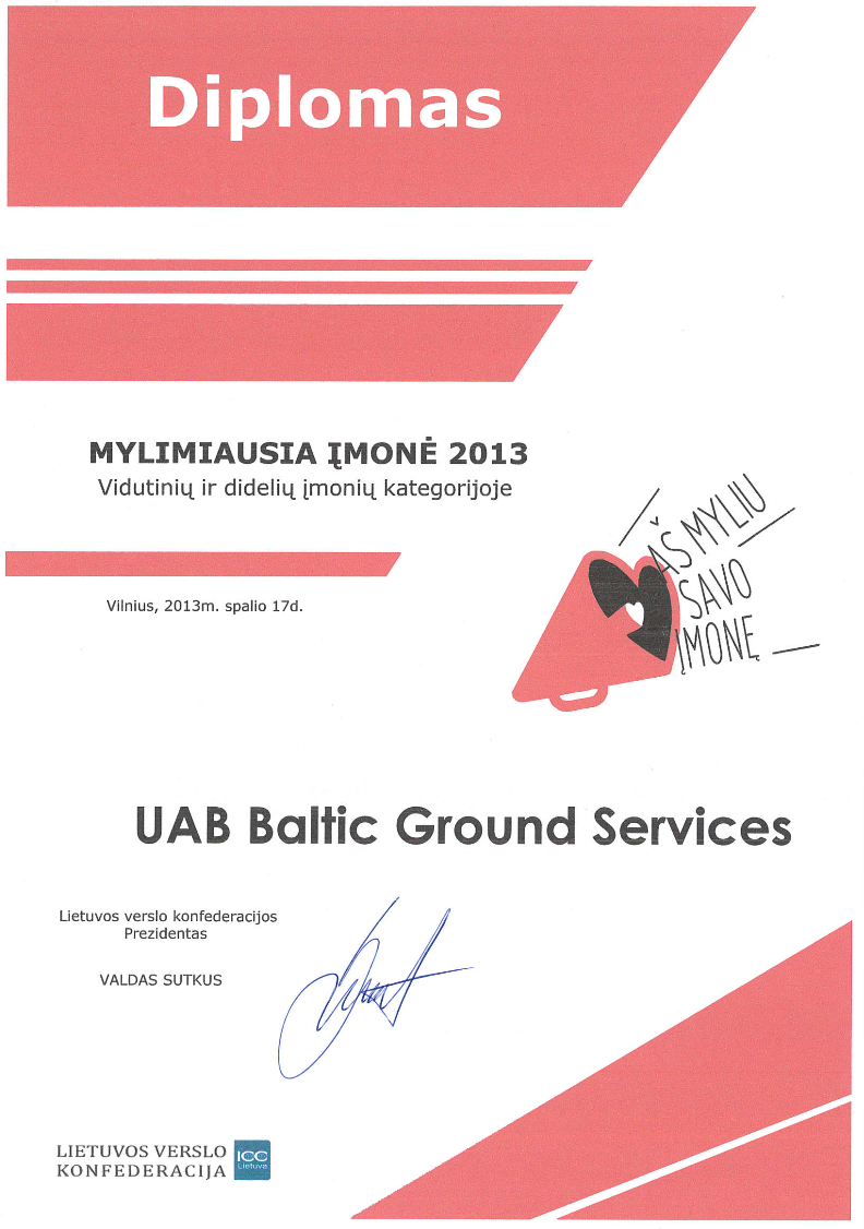 Baltic Ground Services received the Grand Prix of the first Lithuanian I love my company contest 2013