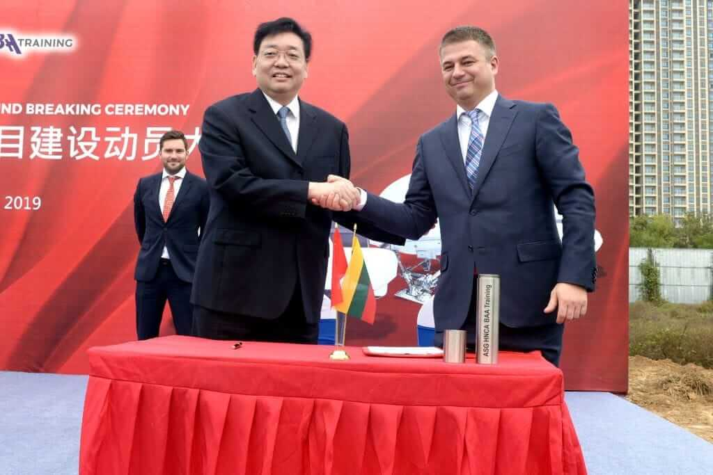 Gediminas Ziemelis at the ceremony of the flight simulator training centre construction in China